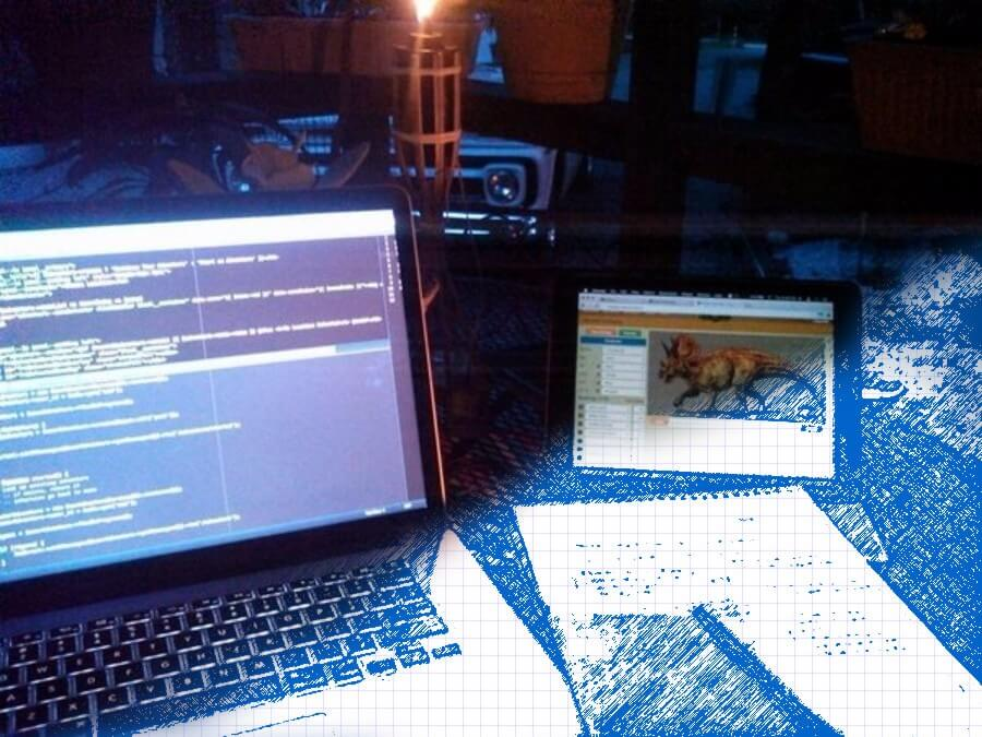 Coding by the firelight just like in the olden days